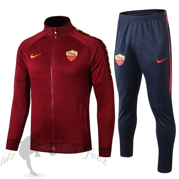 Tee Shirt Foot Pas Cher Nike Survêtements AS Roma 2019 2020 Rouge Marine