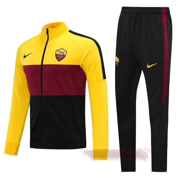 Tee Shirt Foot Pas Cher Nike Survêtements AS Roma 2020 2021 Jaune Rouge
