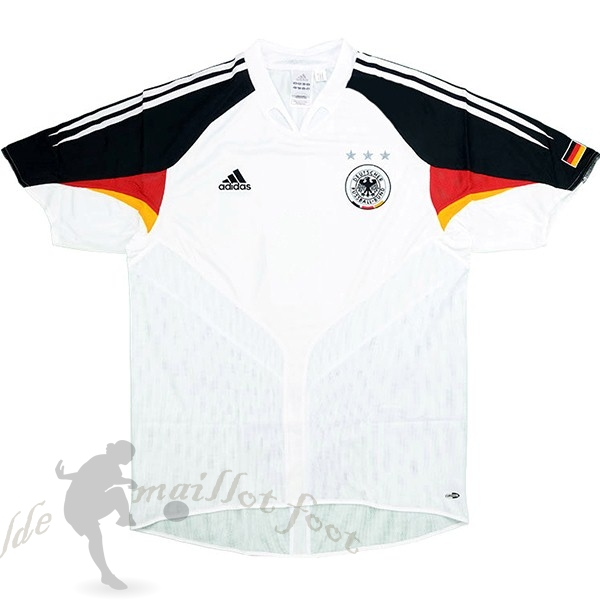 Tee Shirt Foot Pas Cher adidas Domicile Maillot Allemagne Retro 2004 Blanc
