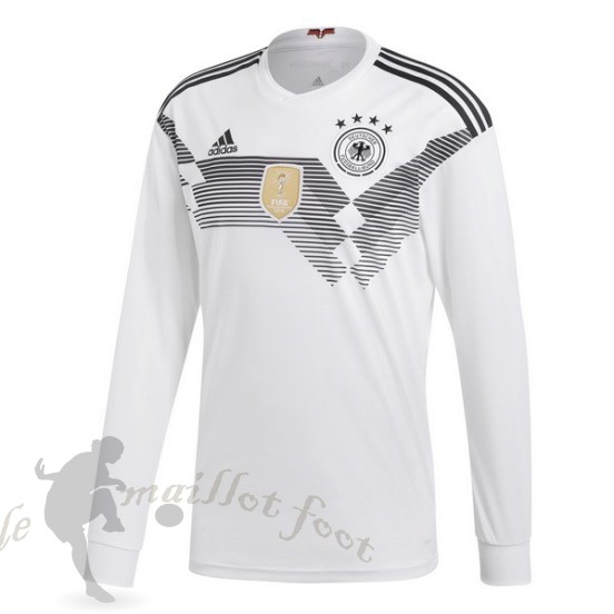Tee Shirt Foot Pas Cher Adidas Domicile Manches Longues Allemagne 2018 Blanc