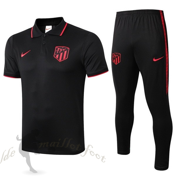 Tee Shirt Foot Pas Cher Nike Ensemble Polo Atlético Madrid 2019 2020 Noir