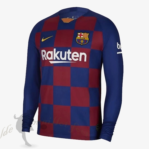 Tee Shirt Foot Pas Cher Nike Domicile Maillot Manches Longues Barcelone 2019 2020 Rouge Bleu