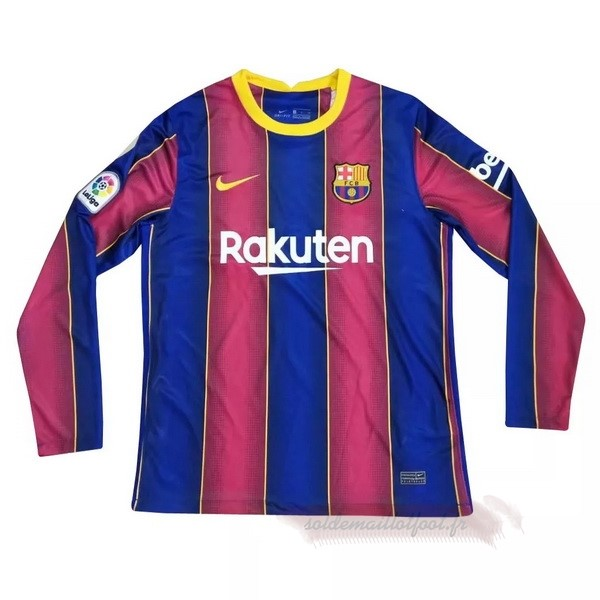 Tee Shirt Foot Pas Cher Nike Domicile Maillot Manches Longues Barcelone 2020 2021 Rouge Bleu