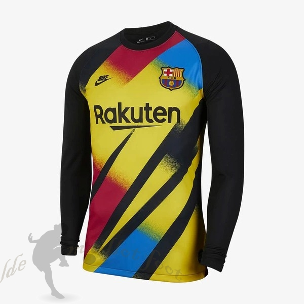 Tee Shirt Foot Pas Cher Nike Maillot Gardien Manches Longues Barcelone 2019 2020 Jaune