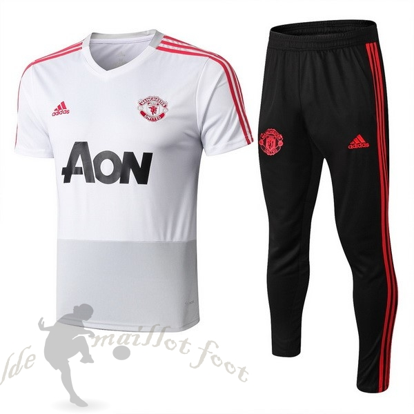 Tee Shirt Foot Pas Cher adidas Entrainement Ensemble Manchester United 2018 2019 Blanc Rouge