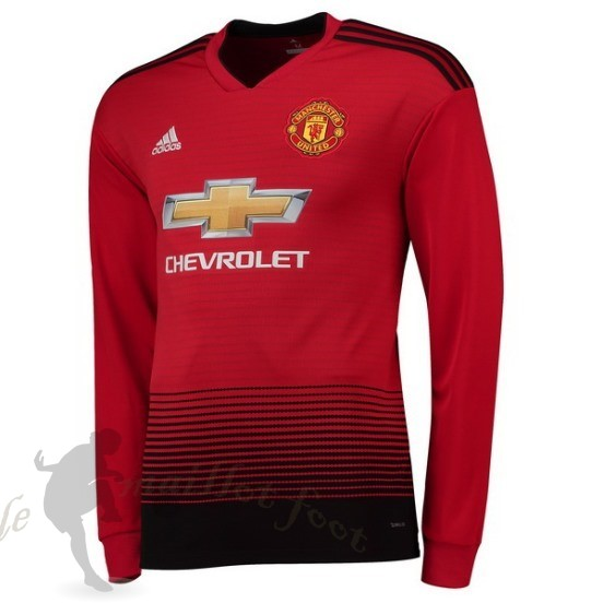 Tee Shirt Foot Pas Cher Adidas Domicile Manches Longues Manchester United 2018 2019 Rouge
