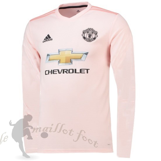 Tee Shirt Foot Pas Cher Adidas Exterieur Manches Longues Manchester United 2018 2019 Rose