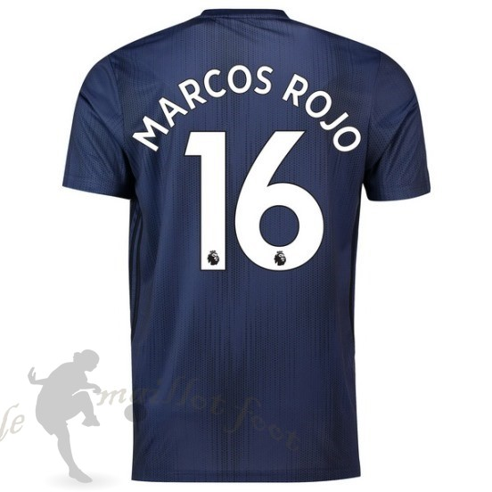 Tee Shirt Foot Pas Cher Adidas No.16 Marcos Rouge Third Maillot Manchester United 2018 2019 Bleu