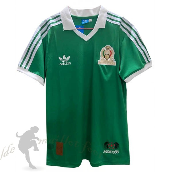 Tee Shirt Foot Pas Cher adidas Domicile Maillot Mexico Retro 1986 Vert