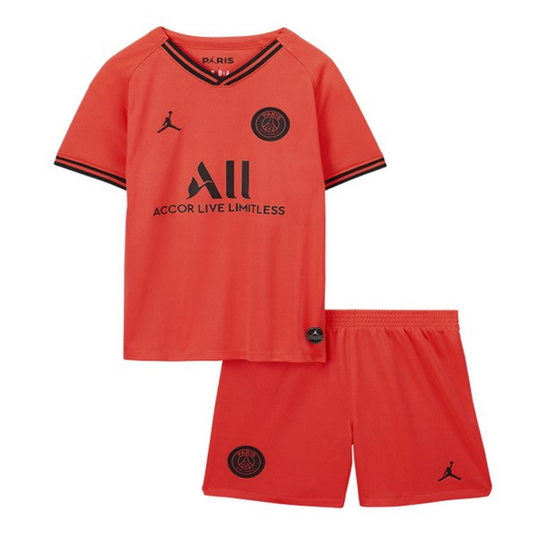 Tee Shirt Foot Pas Cher JORDAN Exterieur Ensemble Enfant Paris Saint Germain 2019 2020 Orange