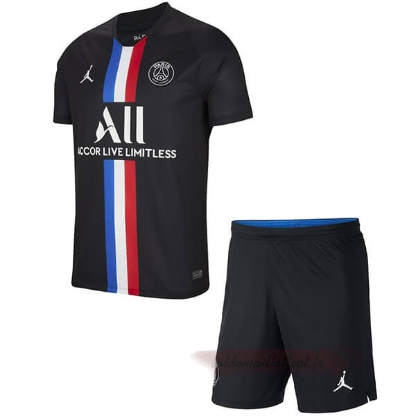 Tee Shirt Foot Pas Cher JORDAN Third Ensemble Enfant Paris Saint Germain 2019 2020 Noir