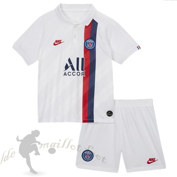 Tee Shirt Foot Pas Cher Nike Third Ensemble Enfant Paris Saint Germain 2019 2020 Blanc