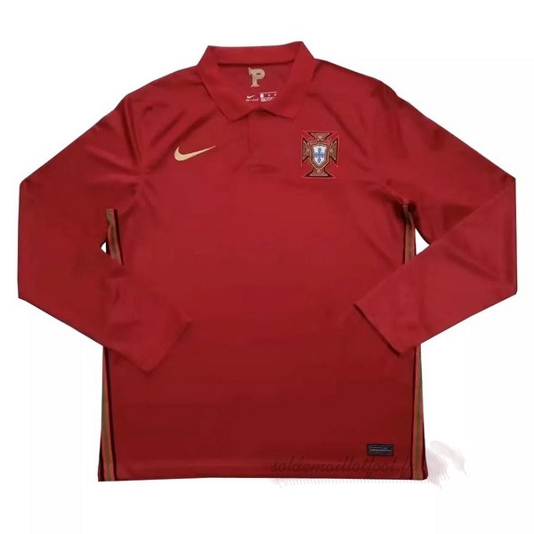 Tee Shirt Foot Pas Cher Nike Domicile Manches Longues Portugal 2020 Rouge