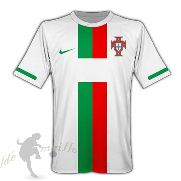 Tee Shirt Foot Pas Cher Nike Exterieur Maillot Portugal Retro 2010 Blanc