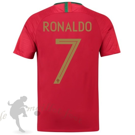 Tee Shirt Foot Pas Cher Nike No.7 Ronaldo Domicile Maillot Portugal 2018 Rouge