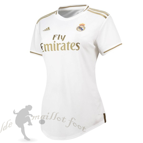 Tee Shirt Foot Pas Cher adidas Domicile Maillot Femme Real Madrid 2019 2020 Blanc