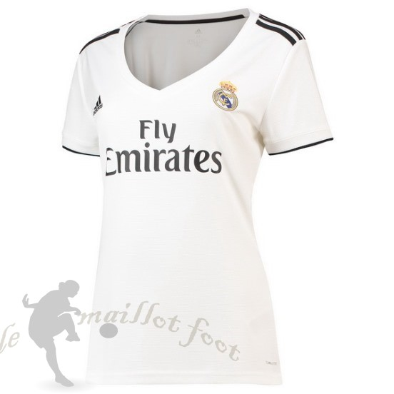 Tee Shirt Foot Pas Cher Adidas Domicile Maillot Femme Real Madrid 2018 2019 Blanc