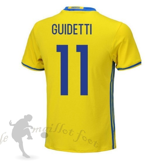 Tee Shirt Foot Pas Cher Adidas No.11 Guidetti Domicile Maillot Suède 2018 Jaune